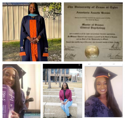 Congratulations: Anastasia Brown (Master of Science in Clinical Psychology) from The University of Texas at Tyler Decemb