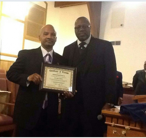 Rev. Reginald Scott's First Sermon Photos and Presentation of License by Pastor Pictured Right