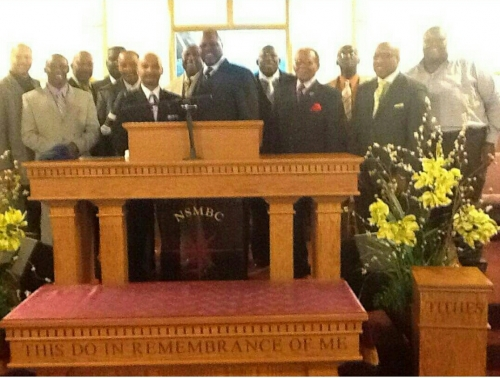 Rev. Reginald Scott's First Sermon Photo with Visiting and North Star Ministers Along with Pastor